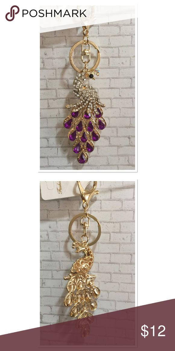 """Purple Peacock Purse Charm Beautiful peacock purse charm with faux purple gemstones and clear crystals, length 6"""" Boutique Accessories Key & Card Holders"""