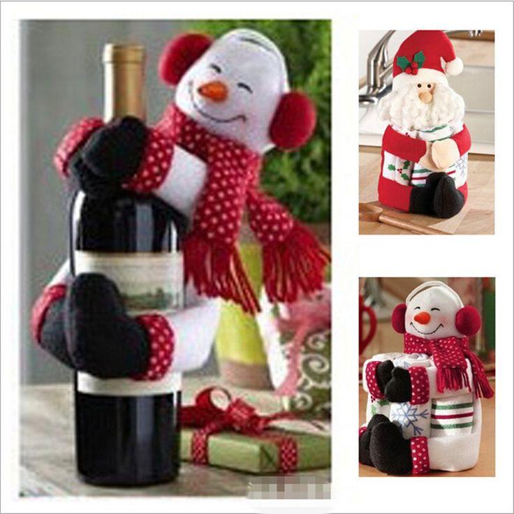 1Santa Мороз + Снеговик 1 / Set Новый год Новогоднее украшение Поставки подарок Рождественский крышки бутылки вина орнамент SDJ-029