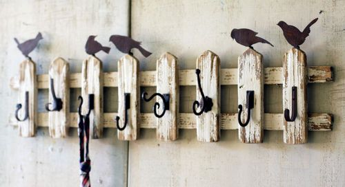 Handmade Reclaimed Wood Birds on Picket Fence Wall Hooks Shabby Chic Style Decor
