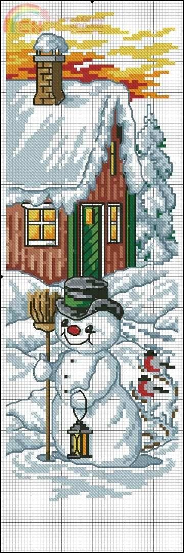 snögubbe utanför stugan