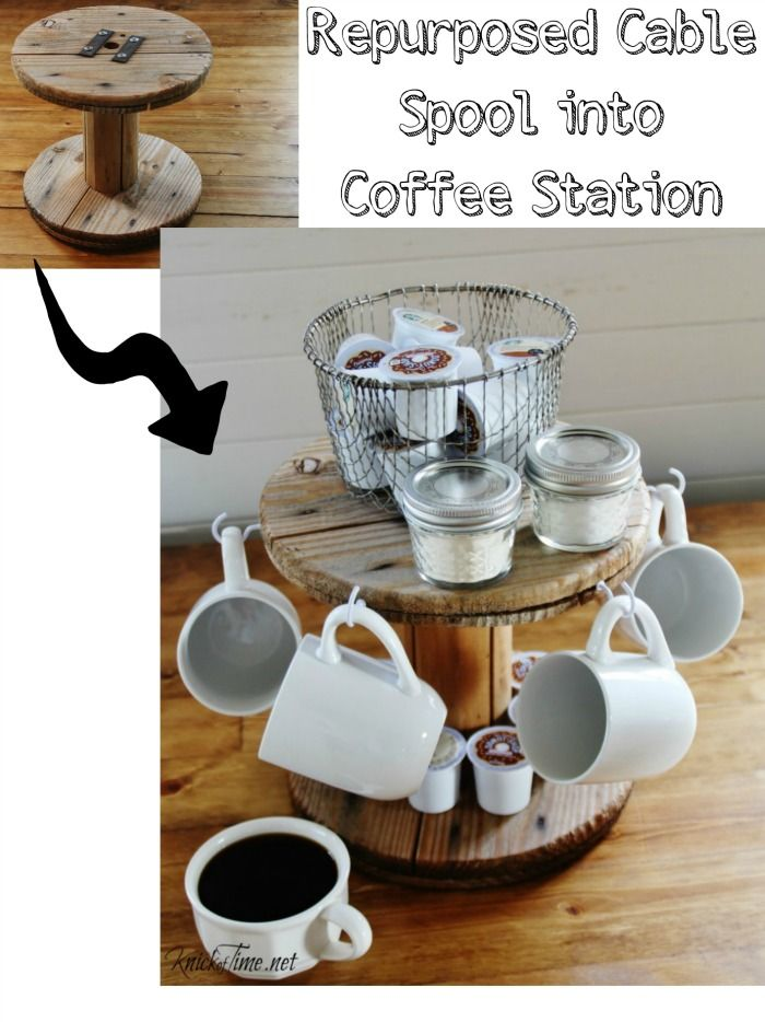 Create a unique coffee station out of a repurposed small wooden cable spool - Tutorial by Knickof Time for My Repurposed Life