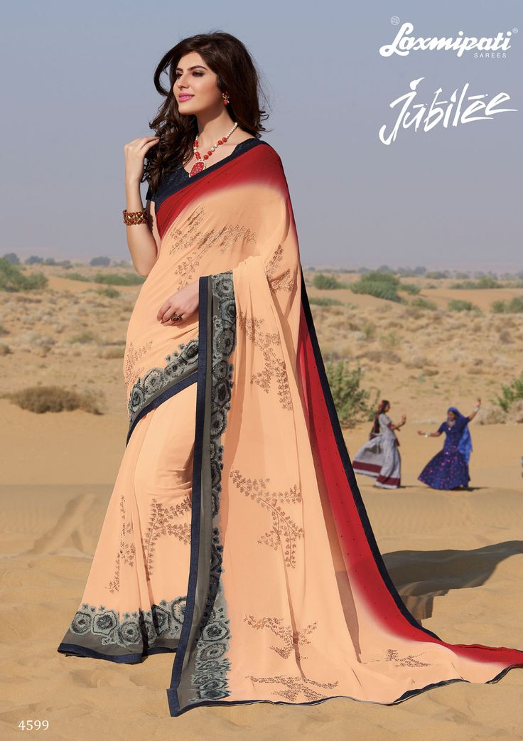 Shop this Chiku Red Pattern Chiffon Embroidery Stone Work Saree with Rawsilk Lace Border along with Grey Banarsi Embroidered Blouse by #Laxmipatisarees. Catalogue- Jubilee, Design Number: 4599, Price: ₹ 2917.00  #Jubilee0417 #Cashondelivery #Orderonline #Freeshipping