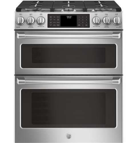 """Lowest price on GE CGS995SELSS Cafe 30"""" Stainless Steel Gas Sealed Burner Double Oven Range - Convection. Shop today!"""