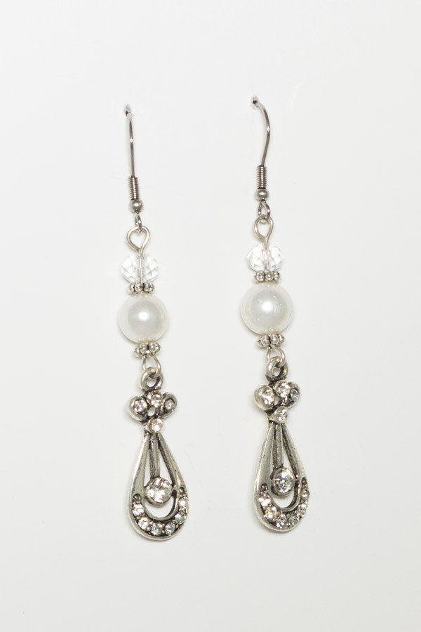 Shell Pearl and Crystal Earrings