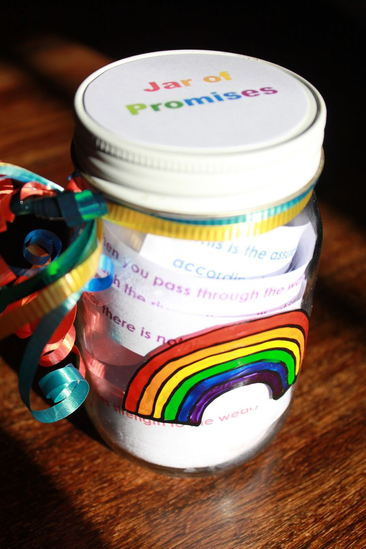 Noah story craft: Jar of Promises made for Mothers Day. A range of promises from the OT and NT were printed out in colour. Kids made the rainbow sticker using window sticker paints painted onto an outline already done for them.