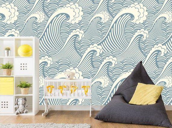 Wave Wallpaper Nursery Nautical Wallpaper Kid Remove Wallpaper Mural Self Adhesive Wallpaper Roll Peel And Stick Wallpaper Print X315 Nursery Wallpaper Nautical Wallpaper Waves Wallpaper