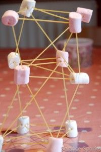 Snap the spaghetti into smaller pieces.  Push the ends of the spaghetti into the marshmallows to build different shapes for your tower...... maybe a party game of who can build the tallest structure.