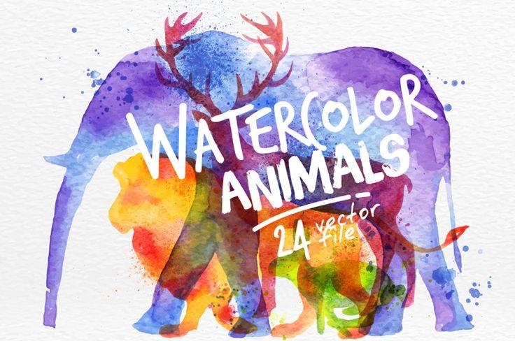 Set of watercolor animals silhouettes (bear, bird, buffalo, bull, camel, cat, cheetah, deer, dog, dolphin, duck, eagle, elephant, fox, giraffe, horse, kangaroo, lion, monkey, rabbit, rhino, snail, wolf, crocodile), black edition and overlay illustration d…