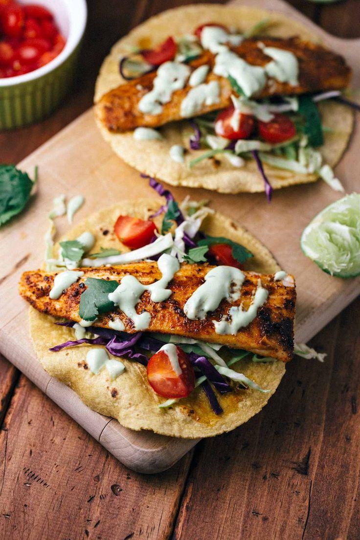 Blackened Mahi Mahi Fish Tacos with Avocado Lime Sauce   A super simple and flavorful recipe that you won  39 t need to head to Mexico to enjoy  via  foodiegavin