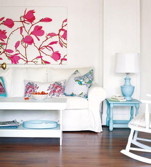 Combinación rosa, turquesa y azul claro