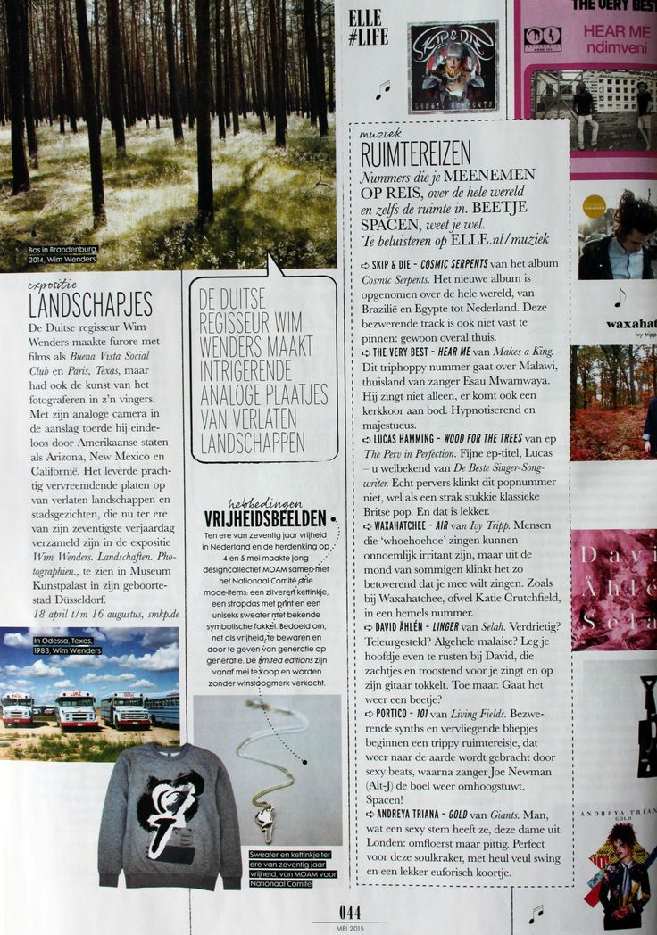 SOTINE's collaboration with MOAM was featured in the May 2015 issue of the Dutch ELLE Magazine.