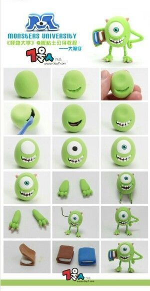 Monsters University: DIY Mike Wazowski Pendant Picture Tutorial                                                                                                                                                                                 Más