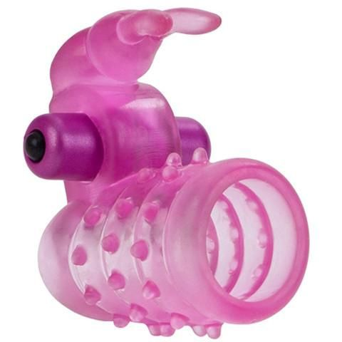 A Powerful Cock Ring for Him & Her! Enhance your next play session with the new Stretchy Vibrating Bunny Enhancer Cock Ring.  Designed with pleasure for both partners in mind, this mind-blowing Enhancer is the perfect toy to bring into the bedroom. Surrounded by luscious nubs, she'll climax faster than ever before.  The silky smooth vibrations travel down through your cock and into her, giving you both intense sensations. And the fluttering bunny ears tickle her clit sending waves of ecstasy