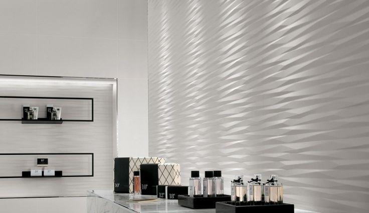 panneau mural décoratif en relief en céramique blanc neige, peinture murale assortie et meuble de rangement blanc laqué
