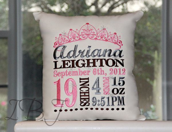 How sweet is this personalized birth announcement pillow for your little princess?  What an awesome gift.