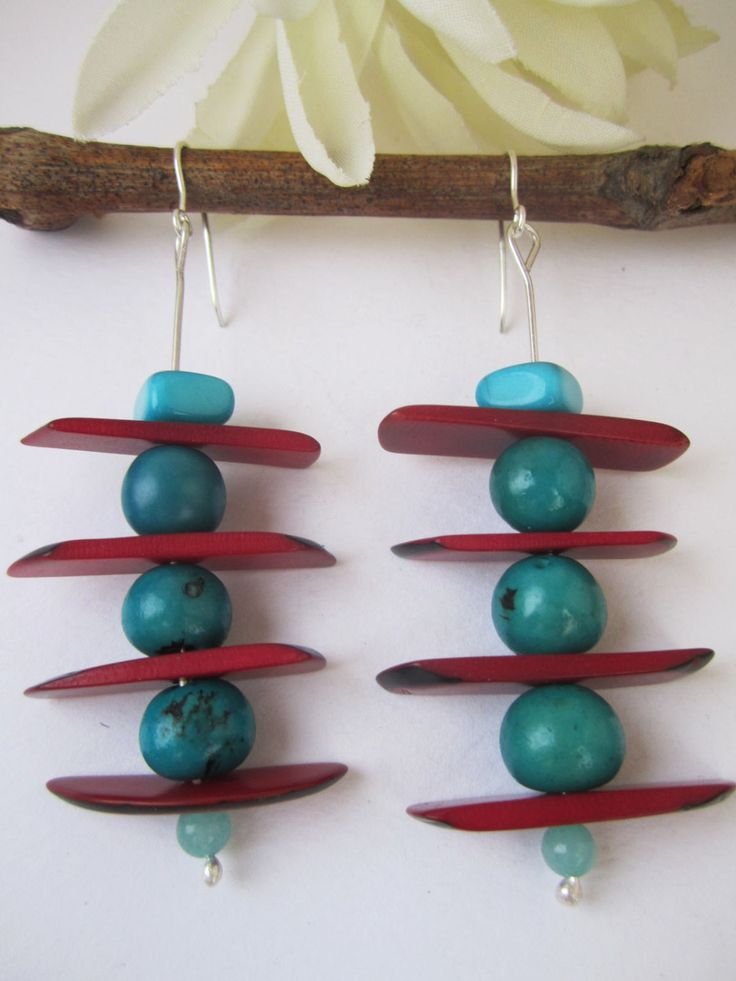 Silver earrings with red and blue turquoise vegetable ivory seeds. by NataliaNorenasilver on Etsy