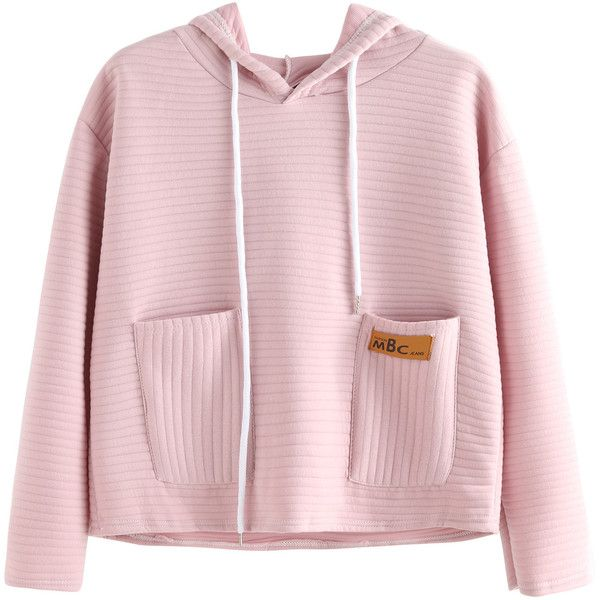 Pink Striped Textured Hooded Sweatshirt With Pocket ($11) ❤ liked on Polyvore featuring tops, hoodies, pink, hoodie pullover, hooded sweatshirt, sweater pullover, pink hoodies and pink top