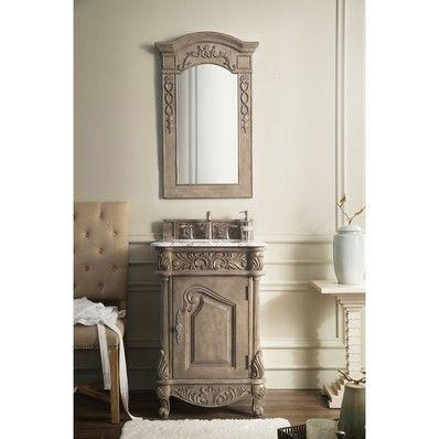 "Monte Carlo 24"" Single Sink Bathroom Vanity in Empire Gray with Carrara White Marble Top. by James Martin | Discount Bathroom Vanities"