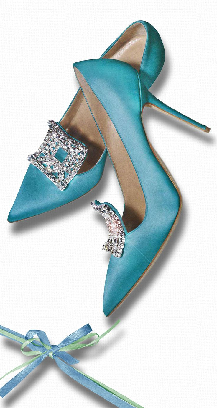 from anbenna on tumbler : Photo of Manolo Blahnik's - turquoise silk with rhinestone buckles - definitely French Court Style!