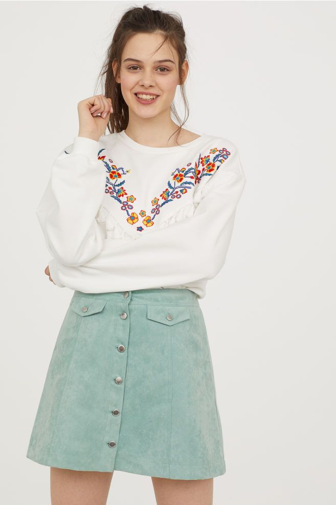 c1708b136b Short Skirt - Mint green/faux suede - Ladies | H&M US 1