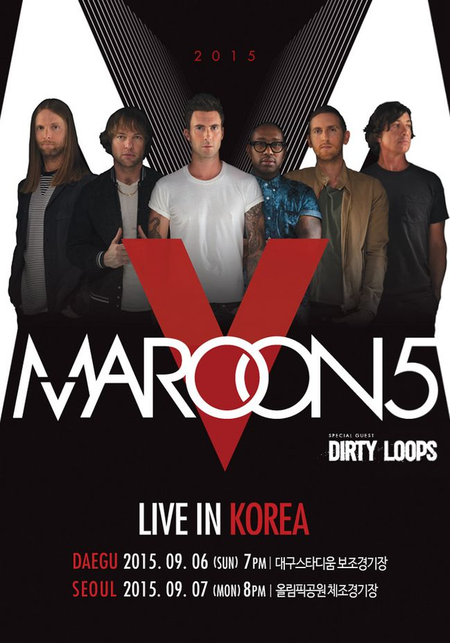 Maroon5 is coming to Korea! On September 6th and 7th, they will be holding concert in Daegu and Seoul. Don't miss your chance to see Maroon 5! For more information, check out,l http://www.maroon5.com/v-tour  #Maroon5 #Concert #Music #Songs #Korea #Musician #Enjoy  If you are a musician or a music lover, visit and join DIOCIAN.  Various kinds of music services are waiting for you! www.DIOCIAN.com