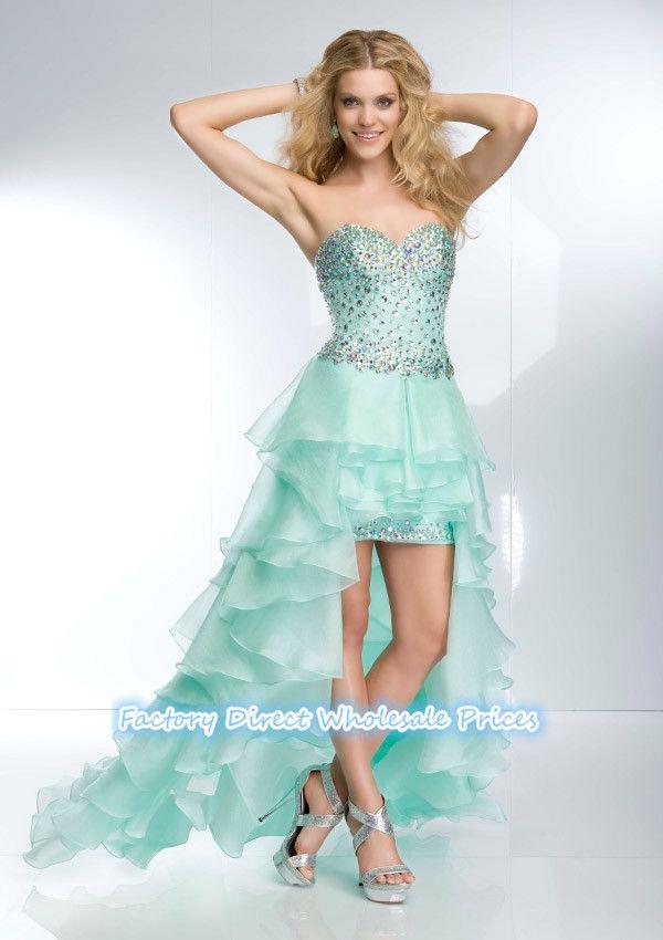 Короткие платья выпускного вечера новое поступление мода платье элегантный милая привет-ло длинные органзы бирюзовый вечерние платья