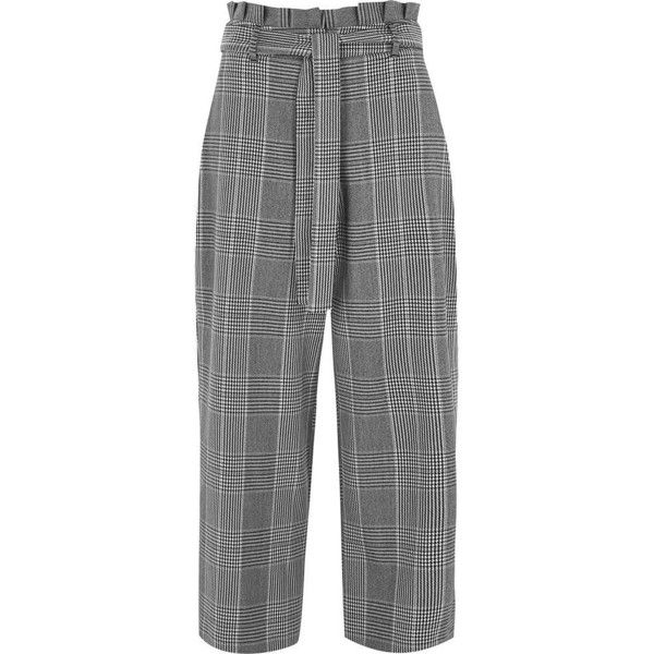 River Island Black check paperbag waist culottes (1 175 ZAR) ❤ liked on Polyvore featuring pants, trousers, bottoms, black, wide leg trousers, women, zip pants, paperbag pants, checkered pants and checkerboard pants