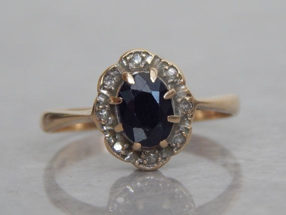 vintage engagement ring  sapphire and diamond by WatsonsAttic