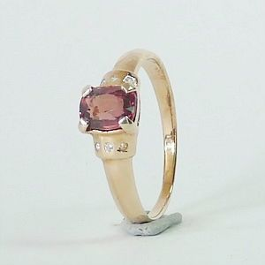 0.62 CT. Genuine Redish Pink Spinel in Rose Gold Plated over Solid Silver Ring Size:Q-8           RI206
