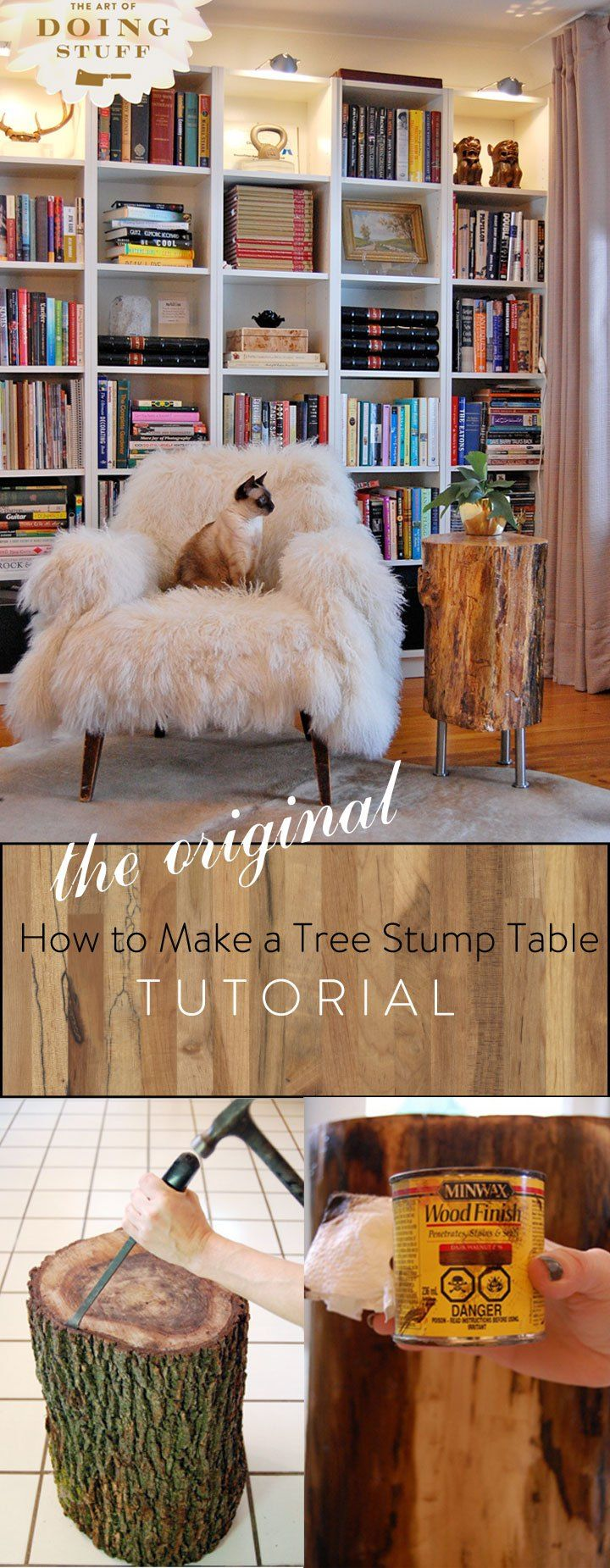 The original tree stump tutorial! Why you need to remove the bark, why to finish it or not finish it, and why you need to let your stump dry out. Plus of course, how to make it.