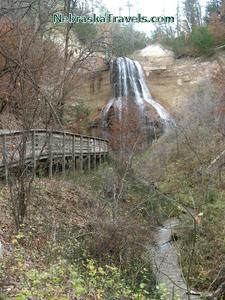 Smith Falls - Tallest Waterfall in Nebraska - with boardwalk to waterfall next to stream near Nioabrara River east of Valentine, NE -- More on Smith Falls Park Campground & Picnic areas overlooking the Niobrara River at -- http://www.nebraskatravels.com/tallest-waterfall-smith-falls-niobrara-river-ne.html