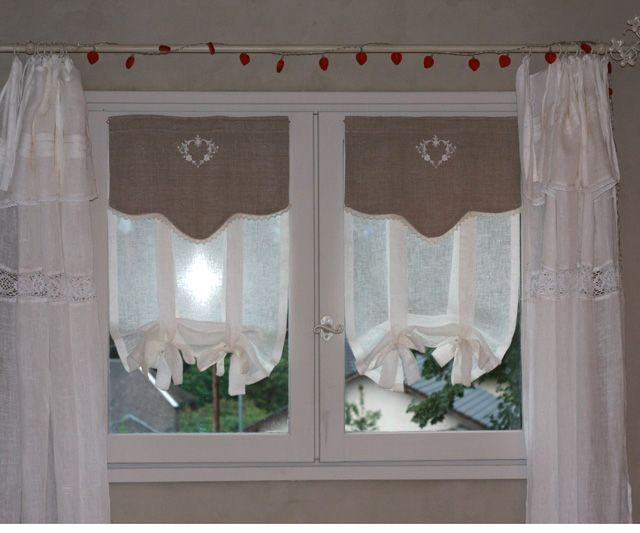 Embroidered valance and curtains for French doors?