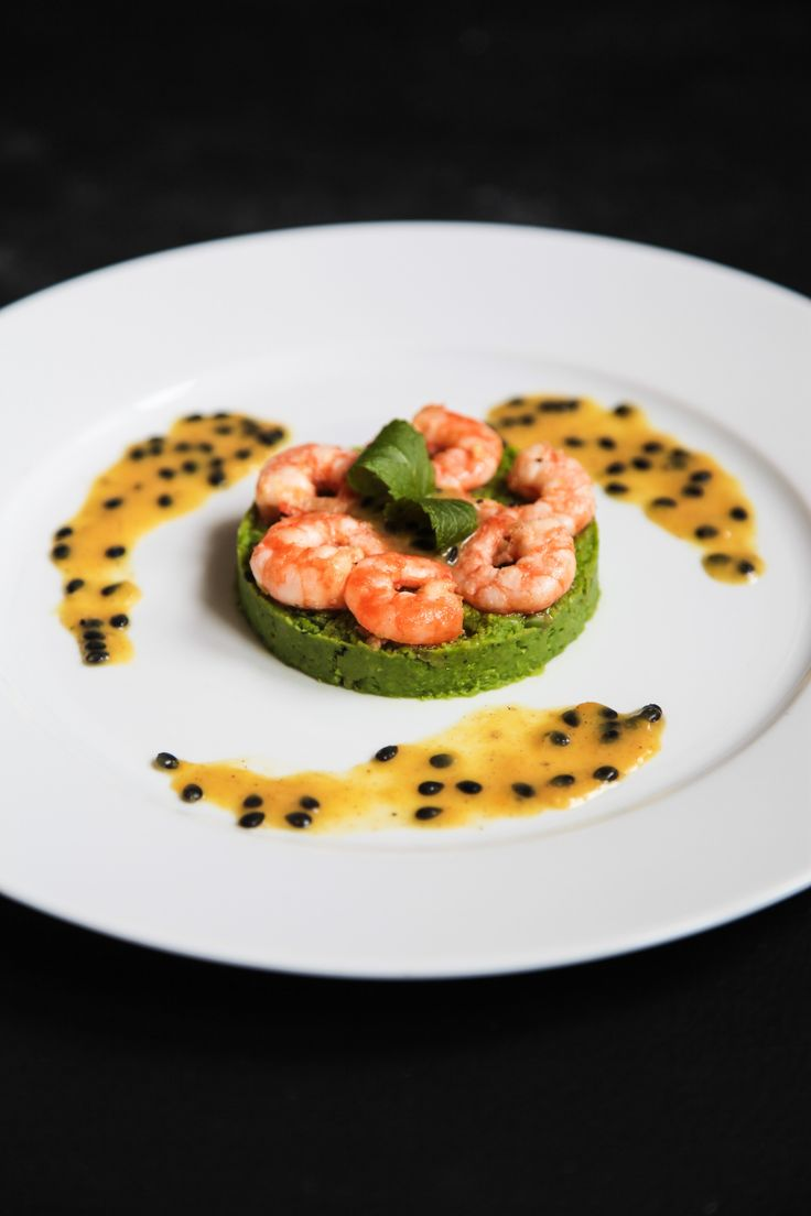 Masterchef Inspired Prawns with Pea Purée and Passion Fruit Coulis   Berries and Spice