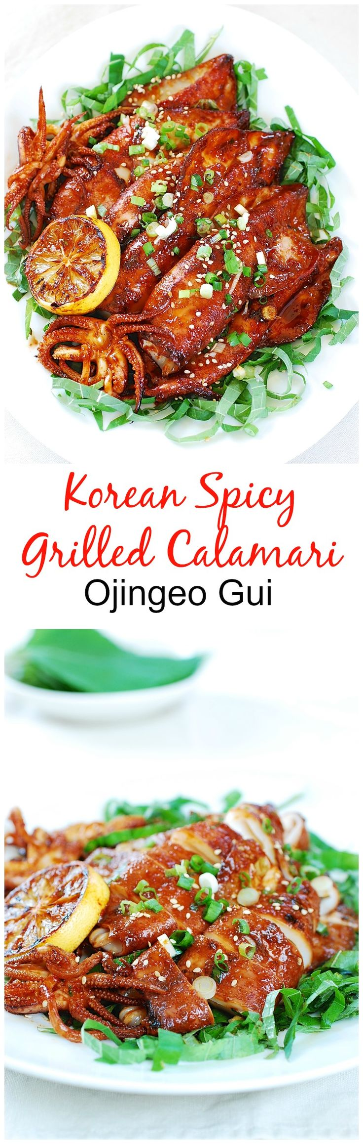 Tender squids (calamari) marinated in a gochujang sauce and quickly grilled to…