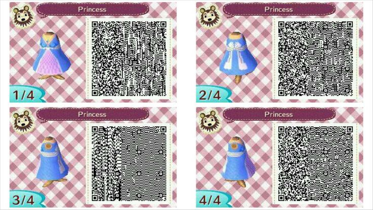 simple princess dress qr codes for animal crossing new