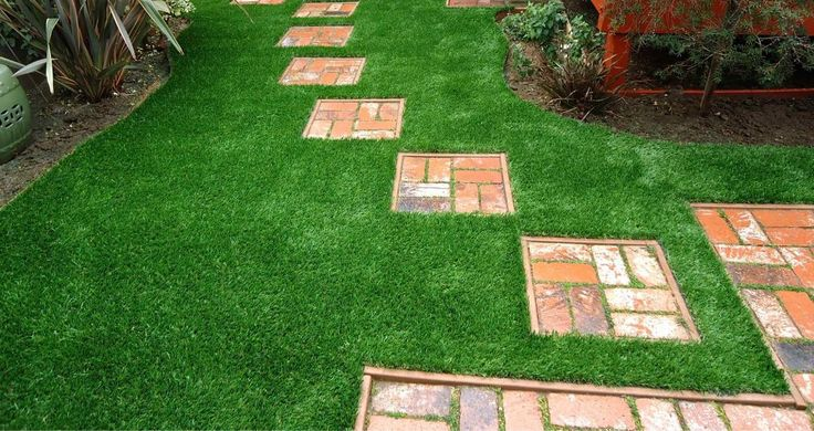How cute are these pavers set  in synthetic turf?