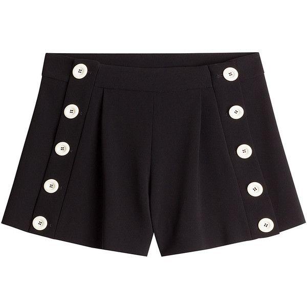 Boutique Moschino Sailor Shorts (£160) ❤ liked on Polyvore featuring shorts, black, short shorts and sailor shorts