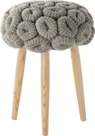 Knitted Rings Grey Stool by Gandia Blasco