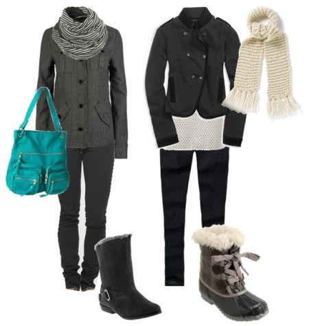 Dark Gray Jacket + Gray Skinny Jeans + Striped Scarf + Flat Ankle Boots
