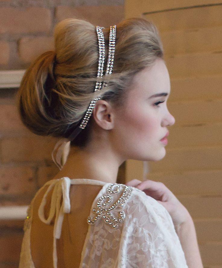 Two Strand Coy Crystal Double Headband | Kirsten Kuehn || handmade crystal bridal sashes & embellished accessories