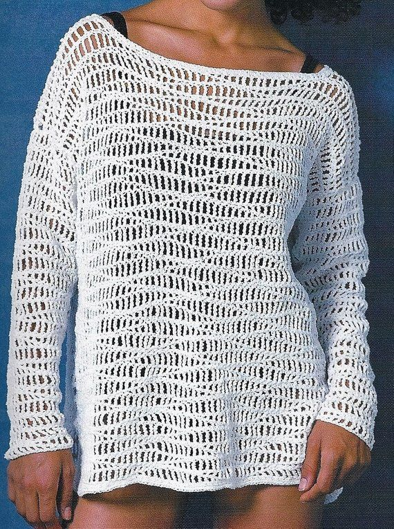 Crochet Tunic Wave Pattern Pullover Cover up PATTERN, Romantic Beach Cover-up Tunic Pattern, PDF Dow