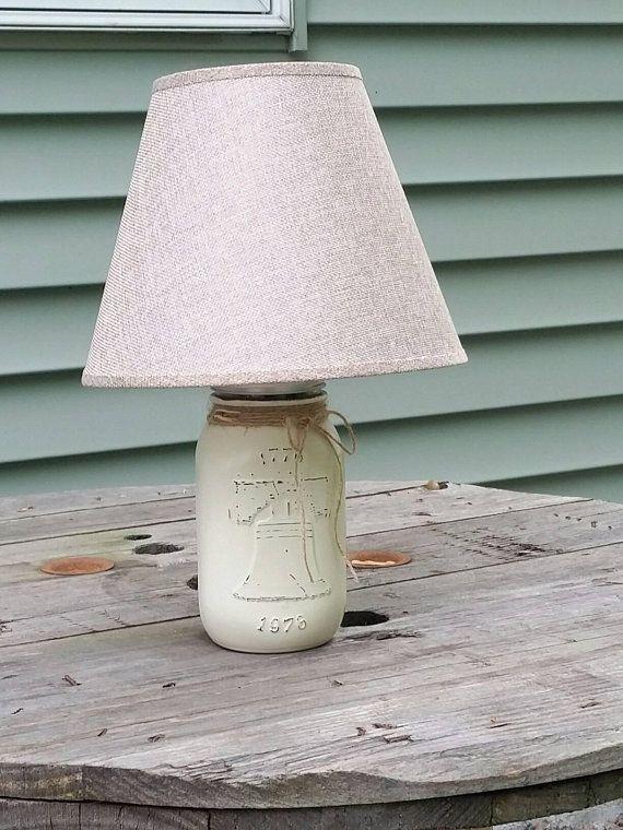 Liberty Bell Liberty Bell Lamp Mason Jar Lamp Americana Lamp Americana Decor Mason Jar Decor Americana Farmhouse Unique Lamp Geometric Lamp Unique Lamps