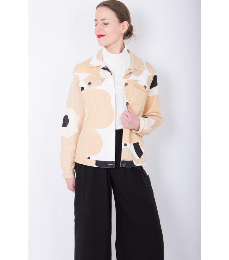 Marimekko Vintage Unikko Beige Denim Jacket, 40 - WST