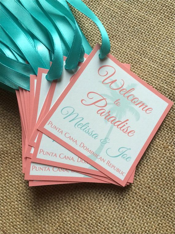 "Wedding Welcome Bag Tags 3"" x 3"" Customizable- Great for Destination Wedding Mexico, Aruba, Jamaica, Hawaii, Punta Cana and more!"