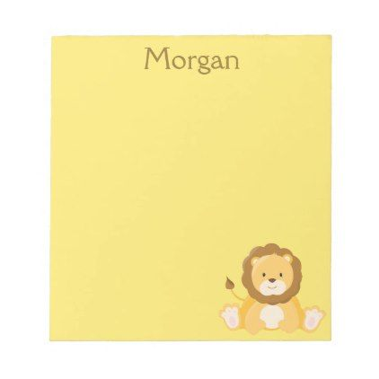 Cute Lion Yellow Personalize Notepad - drawing sketch design graphic draw personalize