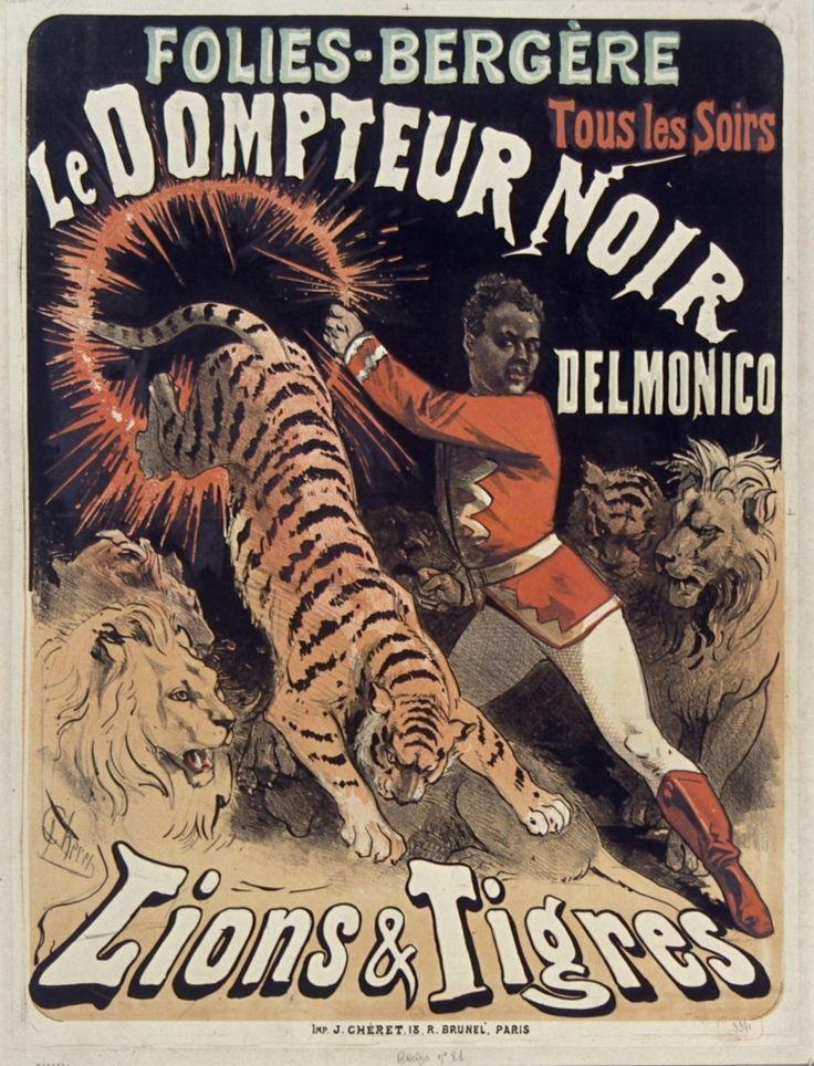 1875, Jules Chéret, Le Dompteur noir Delmonico, Folies-Bergère, Paris (Bibliothèque nationale de France) [Jules Cheret, Folies Bergere, Жюль Шере, Фоли-Бержер]