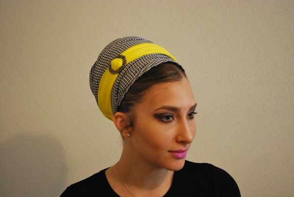 White & Black Checked Pattern with a touch of a Yellow Headband.
