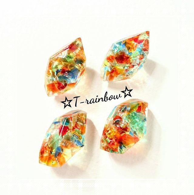 ハンドメイドマーケット+minne(ミンネ) +1点物☆ぎゅぎゅっと琉球ガラスの鉱石ピアス&イヤリング