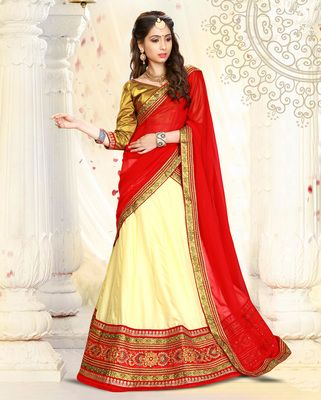 Cream embroidered art silk unstitched lehenga