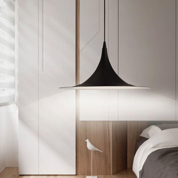 Hot Korte Nordic Land Loft Hanglamp Zwart Aluminium Lampenkap Dia 50 cm w/1.4 m Draad Moderne Suspension verlichting